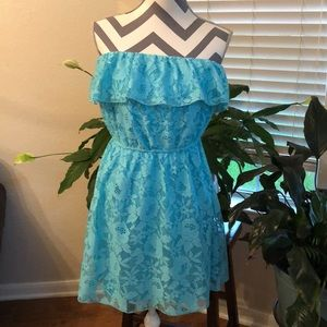 Trixxi Blue Lace Strapless Minidress with Ruffle